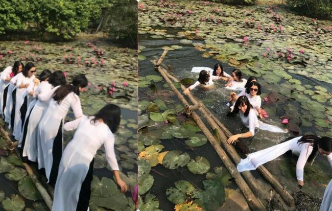 """""""Thảm họa"""" thực sự đến với 8 cô gái mặc áo dài chụp hình trên chiếc cầu sắp gãy"""