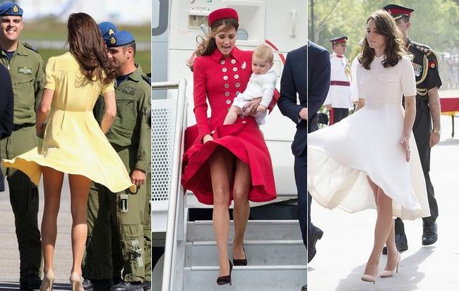 """Tinh tế là thế nhưng Công nương Kate cũng không ít lần muối mặt vì gió lớn, suýt gây ra scandal """"lộ hàng"""""""